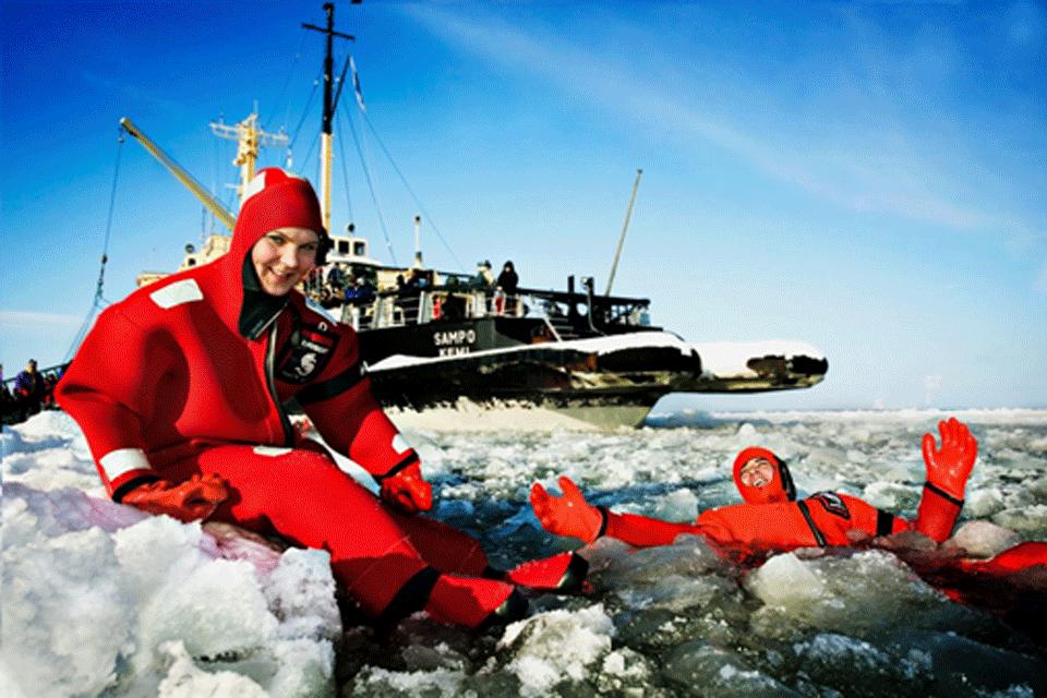 Swimming with Ice, Kemi, Lapland