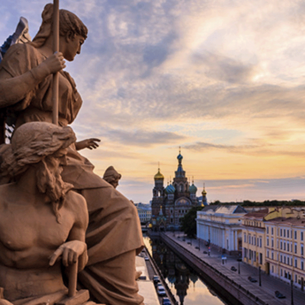 Sculpture on the Roof of the Bank, St. Petersburg